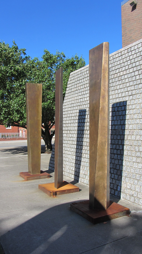 """Three Stele"" Bronze & steel"